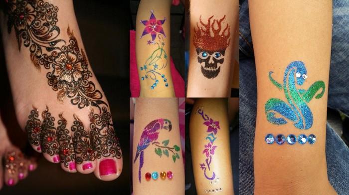 Strasszkövekkel díszített henna- és csillámtetoválás